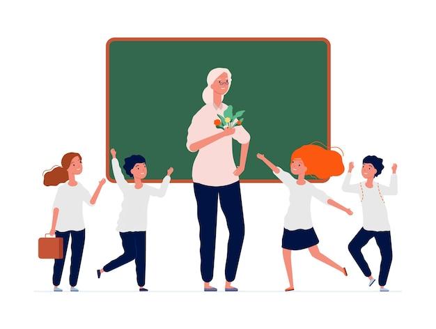 학교로 돌아가다. 행복한 교사와 유치원 아이들.