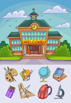 学校のイラストに戻る。学習機器やオフィス用アクセサリーを建造して供給します。