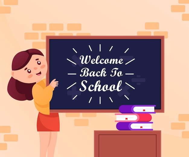 교사 캐릭터의 인사말이 있는 학교 일러스트레이션 디자인으로 돌아가기