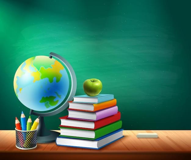 Снова в школу иллюстрации с книгами, карандашами, горшком, глобусом на столе в классе, реалистично
