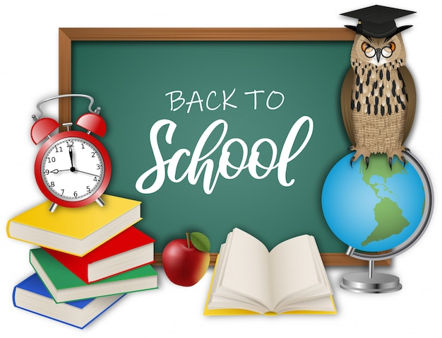 Обратно в школу иллюстрация с доске, сова, глобус, будильник, яблоко и книги