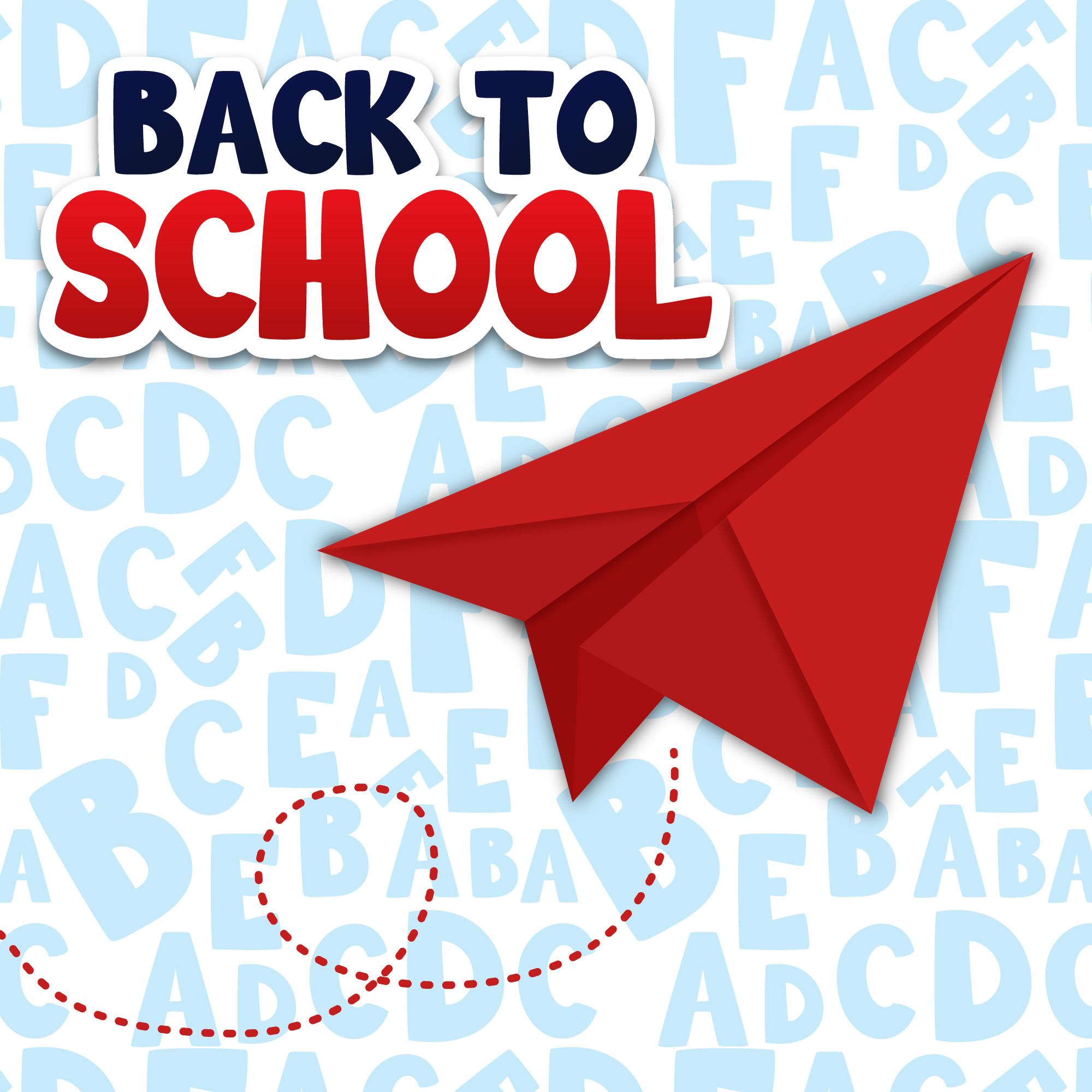 Back to school illustration with red paper airplane