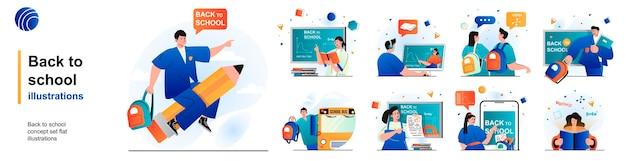 Снова в школу изолированный набор ученики учатся на уроках колледжа образования сцен в плоском дизайне