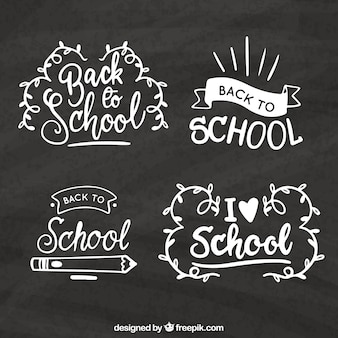 Back to school label collection in chalk style