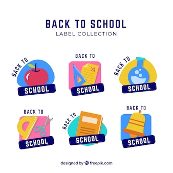 Back to school label collection of six