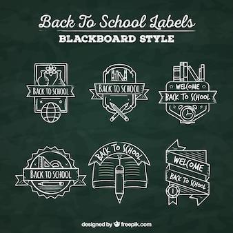 黒板スタイルの学校のラベルに戻る