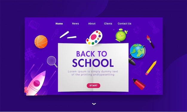 Целевая страница «назад в школу» со школьными элементами, такими как цветовая палитра, баскетбол, глобус, маркер, будильник и ракета на фиолетовом фоне.