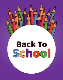 Снова в школу надписи в круглой рамке с цветными карандашами