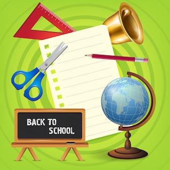 Назад к школьной надписи с глобусом и доской