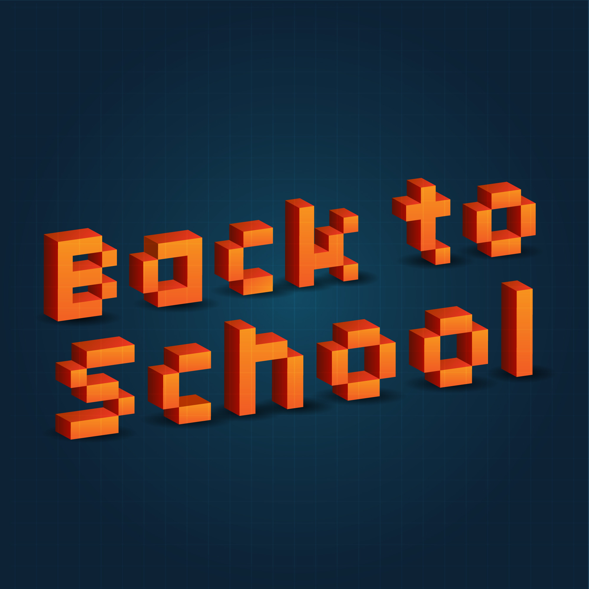 Back to school message with 3D pixels