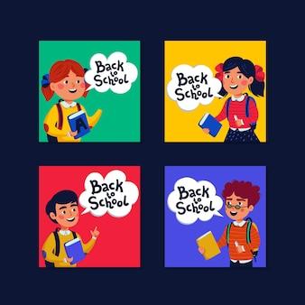 Снова в школу коллекция мини-карточек. открытки с мальчиками и девочками и обратно в школу с текстом. стиль иллюстрации.