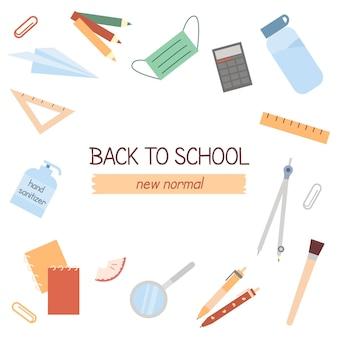 学校に戻るはがきに書かれた新しい通常のスローガン。テキスト用のスペースを備えた学習用のさまざまな文房具要素のセット。大学のバナー。白い背景の上のフラットベクトルアイコン。