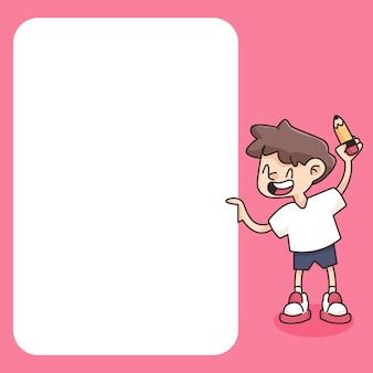 学校のメモ帳に戻るかわいい漫画イラスト