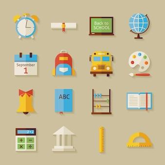 Назад к школьным объектам с тенью. плоский стиль векторные иллюстрации. обратно в школу. набор науки и образования. коллекция объектов на бежевом фоне