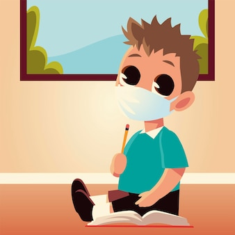 医療用マスクと鉛筆、社会的距離と教育のテーマを持つ男の子の子供の学校に戻る