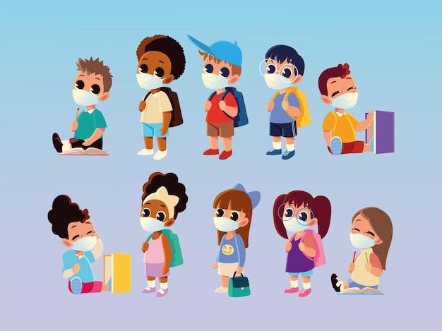 医療用マスクのデザイン、社会的距離、教育をテーマにした男の子と女の子の学校に戻る