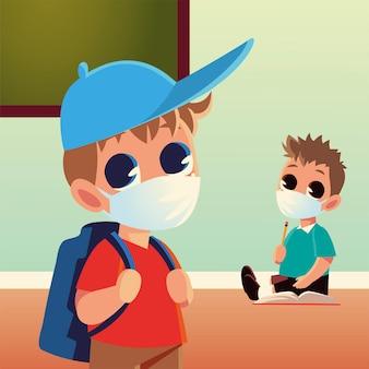 医療用マスクの鉛筆とノート、社会的距離と教育のテーマを持つ男の子の学校に戻る