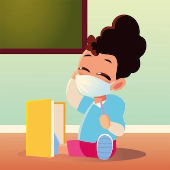 医療用マスクとノートブック、社会的距離と教育のテーマを持つ女児の学校に戻る