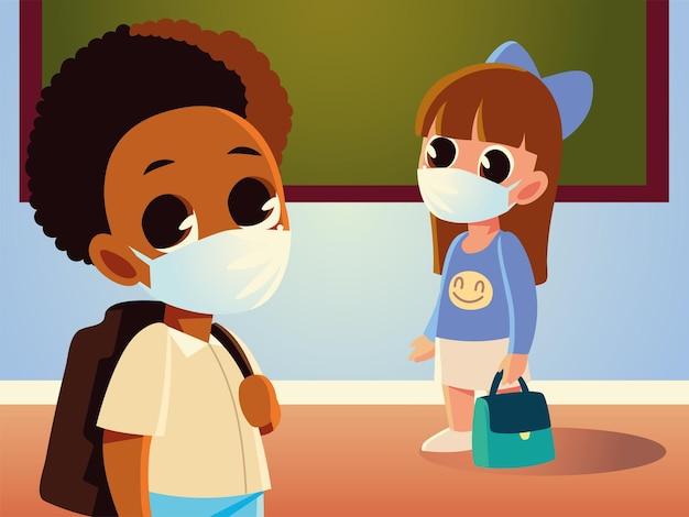 財布を持った女の子と医療用マスクのデザイン、社会的距離、教育をテーマにした男の子の学校に戻る