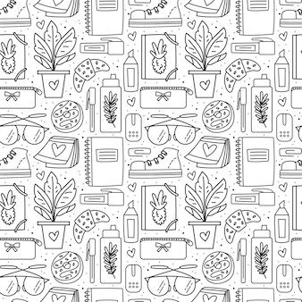 학교, 사무실 물건, 문구류. 원활한 패턴 블랙 낙서 디자인.