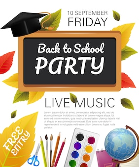Back to school party flyer with graduation cap