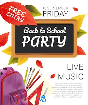 Back to school party flyer with violet backpack