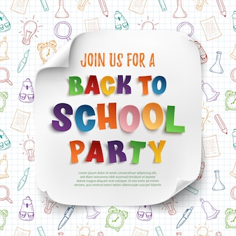 カラフルな手描きの学校ツールと学校パーティーポスターテンプレートに戻る。
