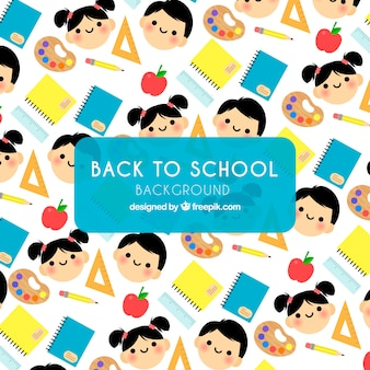 Back to school pattern with kids