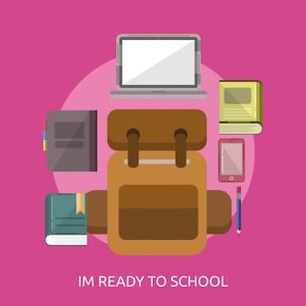 学校に戻って、ピンクの背景