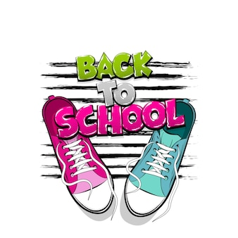 학교로 돌아가기 팝 아트 드로잉 운동화 신발 키치 컬러 만화 텍스트 쌍 스포티 한 신발