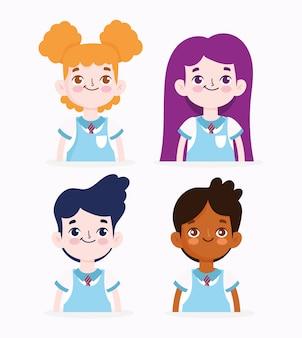 学校に戻って、肖像画の漫画の学生の女の子と男の子の初等教育のベクトル図