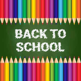 Снова в школу плакат цветные карандаши