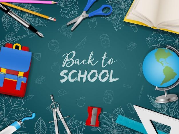Обратно в школу плакат с реалистичными аксессуарами и рисунками на фоне классной доски
