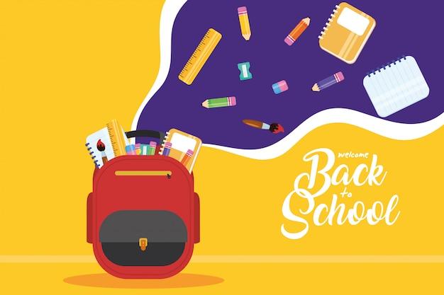 通学かばんと消耗品が入った学校のポスターに戻る