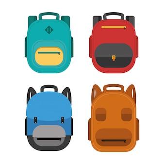설정된 schoolbags와 학교 포스터로 돌아 가기