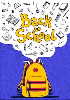 Снова в школу плакат. желтый рюкзак, школьные принадлежности и обратно в школу текст на фиолетовом фоне. иллюстрация.