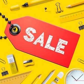 Обратно в школу продажа фон, с реалистичными материалами, иллюстрация