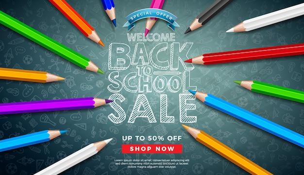 칠판에 다채로운 연필과 타이 포 그래피 문자로 학교 판매 배너 돌아 가기