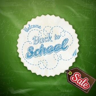 Обратно в школу продажи дизайн на зеленом фоне.