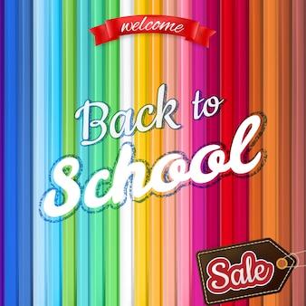Снова в школу дизайна продажи. винтажный стиль обратно в школу на светлом фоне.