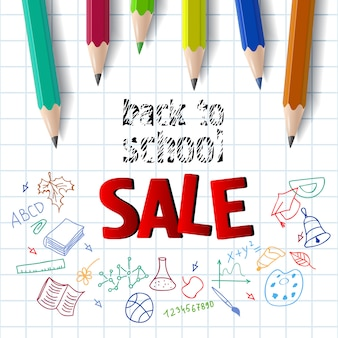 Back to school, sale lettering with color pencils