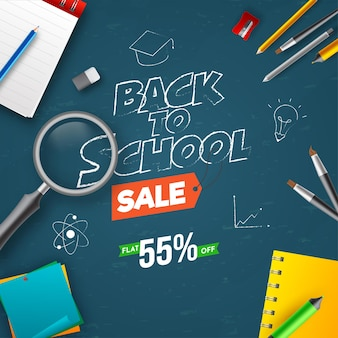 Снова в школу дизайн плаката со скидкой 55% и видом сверху на элементы снабжения на синем фоне.