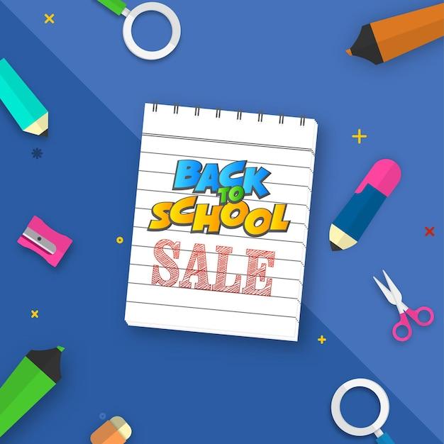 Обратно в школу дизайн плаката продажи с блокнотом и элементами канцелярских принадлежностей на синем фоне.