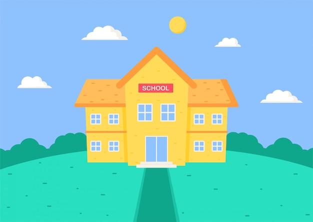 학교로 돌아가다. 학교 건물 만화.