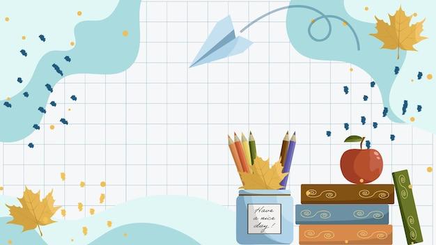 Обратно в школу школьные принадлежности глобус карандаши в банке школьные учебникишкольный фон