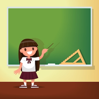 学校に戻る。女子高生は黒板で会います。