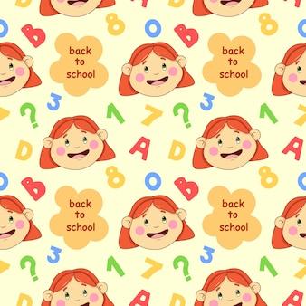 행복한 아이들과 숫자가 있는 학교 원활한 패턴으로 돌아가기