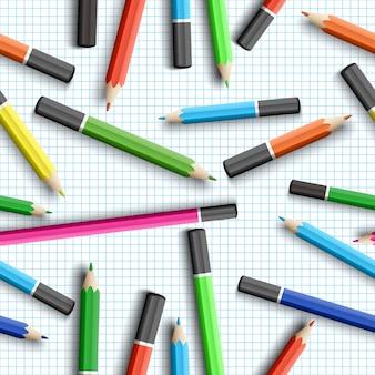 鉛筆で学校のシームレスなパターンに戻る
