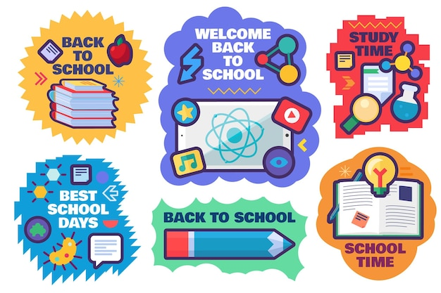 학교로 돌아가서 흰색 배경에 격리된 학용품이 있는 귀여운 스티커 세트입니다. 교육 개념을 위한 책과 쓰기 도구가 있는 만화 레이블. 템플릿 벡터 일러스트 레이 션