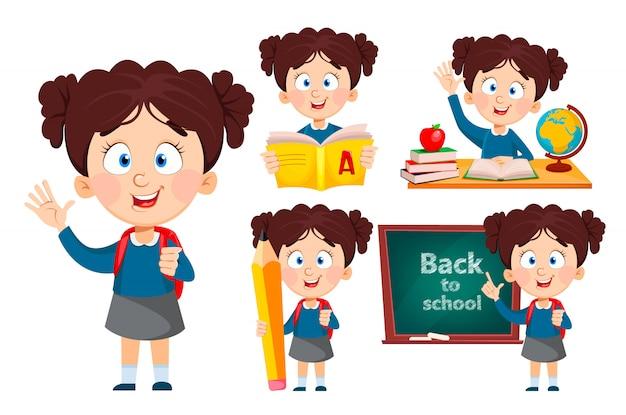 学校に戻って、5つのポーズのセット。かわいい女の子 Premiumベクター